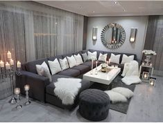 A Modern Apartment Living Room: Home and Interior – Get Yourself a Stylish Living Room That's Fun Living Room Decor Cozy, Living Room Mirrors, Shabby Chic Living Room, Living Room Grey, Small Living Rooms, Home Living Room, Apartment Living, Living Room Designs, Bedroom Decor