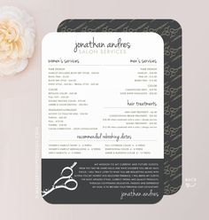 "This listing is for printed Salon Services Menu in your choice of format and quantity: - 5"" x 7"" double-sided printed Salon Menu / Price List"