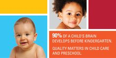 """Did you know that children in high quality early education programs are 25% more likely to graduate from high school? Early education is the start of all education. Tools to help you choose.""  Quality First Parents and Families"