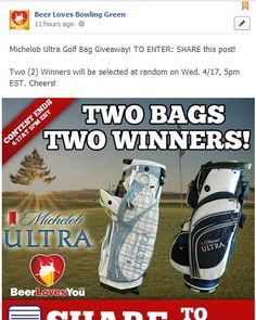 Michelob Ultra Golf Bag Giveaway! TO ENTER: SHARE this post on our fanpage!  https://www.facebook.com/BeerLovesBG  Two (2) Winners will be selected at random on Wed. 4/17, 5pm EST. Cheers! #giveaway #golf #contest #prizes #spring #outdoors