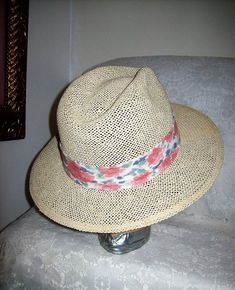Vintage White Straw Fedora Hat by Duckster Made in USA Only 10 USD  hats   977b4413bcc4