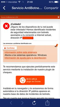 Captura de pantalla que muestra un mensaje del Servicio AntiBotnet