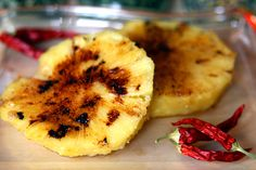 baked pineapple with honey and chilli