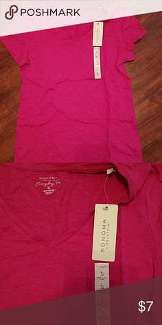 Hot pink v-neck tee Sonoma brand everyday style tee. V-neck. Never worn with tags. Hot pink. Size Large Sonoma Tops Tees - Short Sleeve
