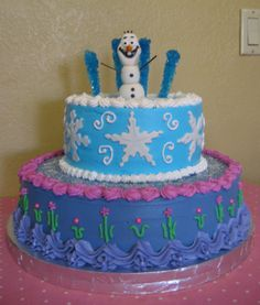 Disney Frozen Tiered Birthday Cake with Olaf, Queen Elsa and Anna inspired - Rubio's Cupcakes