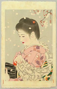 Tatsumi Shimura 1907-1980 - Five Figures of the Modern Beauties - Falling Cherry Blossoms