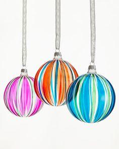 Six Striped Glass Ball Christmas Ornaments