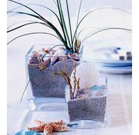 Sand and shells as fillers with palm grass for height