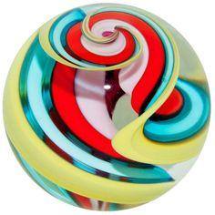 "Fritz Lauenstein 1 5/8"" Colorful Corkscrew Art Glass Marble #ArtGlassMarble"