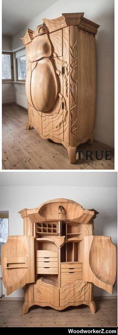 COOL FURNITURE / This one-of-a-kind insectoid armoire is called the BUG and was designed by Latvian designer Janis Straupe of True Latvia. Funky Furniture, Unique Furniture, Wood Furniture, Furniture Design, Furniture Plans, Woodworking Plans, Woodworking Projects, Wood Creations, Wood Design