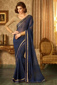 Navy Blue #Georgette #Saree with Georgette Blouse $-57