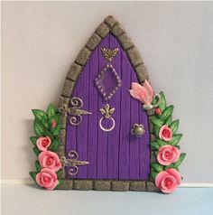 Purple Gothic Style Fairy door with Roses by PatsParaphernalia, via Flickr Fairy Doors, Daydream, Biscuits, Teapot, Little Girls, Jars, Roof Tiles, Portraits, Facades