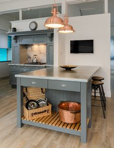 Zinc Work Surface. Add to your industrial look and add some wow factor. Works well with Farrow & Ball 'Downpipe Grey'. Displayed in our Kingsbridge Showroom