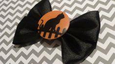 BLACK CAT Hair Bow, Hair Accessory, Halloween, Spooky
