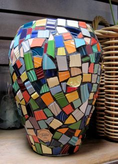 Handcrafted with Colorful Collectible China 10 Mosaic tile Vase Mosaic Planters, Mosaic Vase, Mosaic Flower Pots, Mosaic Garden, Mosaic Tiles, Mosaics, Cement Tiles, Wall Tiles, Mosaic Crafts