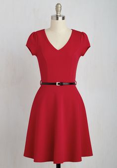 Cooking Classy Dress. Excited to attend a couples cooking tutorial with your true love, you opt to wear this textured red dress for an evening filled with flavor! #red #modcloth