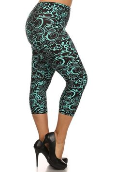 4128e43a5e12e Leggings Depot Capri Printed Leggings Plus Size Teal Swirl Polyester  Spandex Soft. Made in China Fits up to size 16 (Size Chart on Description  Below)