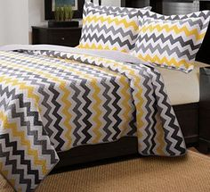 Modern Yellow and Grey White Chevron Pattern Reversible Cotton 3 piece Quilt Set.  Perfect addition for  teen girls bedroom.