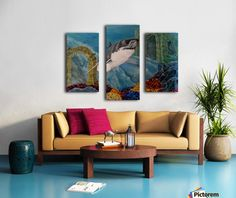 Fun / Fancy Home Decor Items, horse, Triptych Horse Oil Painting, Dolphin Painting, Underwater Painting, Colourful Living Room, My Photo Gallery, Art For Sale Online, Fancy Houses, Canvas Artwork, Painting Canvas