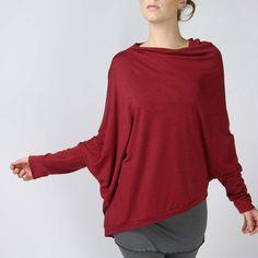 SALE Asymmetrical pullover sweater MERINO by sandmaidensleepwear