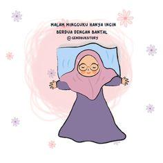 Lah.. Gulingnya seprainya kasurnya 😐 Cute Cartoon Quotes, Cute Quotes, Funny Quotes, Muslim Quotes, Islamic Quotes, Anime Stories, Islamic Cartoon, Anime Muslim, Hijab Cartoon