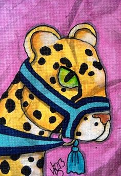 """Aceo Original """"CAROUSEL CHEETAH"""" pencil/ink on canvas paper ON EBAY"""