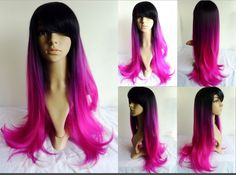 Inclined bang Synthetic body  Wig Three Tone Color Ombre Style BlackPurple Violet to Pink Red Heat Resistant hair Full Wig