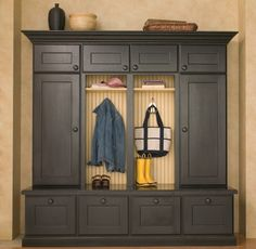"Boot Bench and Lockers Shown With ""Monterey"" Door Style in Oak wtih Black Painted Finish."
