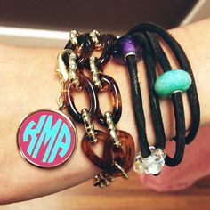 We love stacking some of our new fashion jewelry with our favorite Trollbeads bracelet! #monogram #trollbeads #bracelet