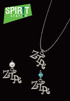 Zeta Tau Alpha Sterling Silver Curlz Drop / Lavalier