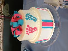 Twins baby shower cake. Looooove! Turquoise and purple!