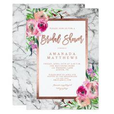 #shower - #Floral Rose Gold Marble Wedding Bridal Shower Card