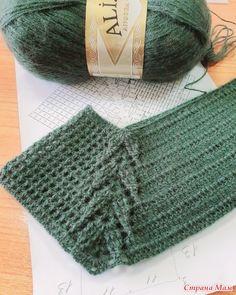 "Джемпер ""Лесная зелень"" - Вязание - Страна Мам Crochet Mens Scarf, Crochet Borders, Crochet Stitches Patterns, Crochet Diagram, Tunisian Crochet, Crochet Blouse, Stitch Patterns, Knitting Patterns, Crochet Baby"