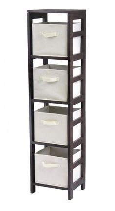 Perfect Capri Tall, Narrow Storage Shelves With Baskets. 4 Shelves,