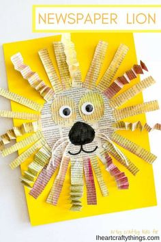 Use leftover newspaper to create this amazing mixed media newspaper lion craft for kids. Fun lion kids craft, mixed media art for kids and newspaper crafts. media art ideas for kids Awesome Newspaper Lion Craft Lion Kids Crafts, Lion Craft, Toddler Crafts, Paper Plate Crafts For Kids, Animal Crafts For Kids, Kindergarten Art, Preschool Crafts, Diy Crafts, Recycled Crafts