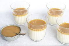 Panna cotta med saltkaramelsauce - opskrift på nem italiensk dessert Panna Cotta, Brunch, Pudding, Ethnic Recipes, Desserts, Food, Tailgate Desserts, Dulce De Leche, Deserts