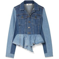 SEA Two-tone peplum denim jacket ($825) ❤ liked on Polyvore featuring outerwear, jackets, patchwork jacket, blue slip, patchwork denim jacket, blue jackets and asymmetrical denim jacket
