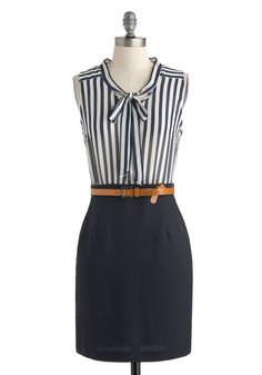 Office to a Running Start Dress - Mid-length, Blue, White, Stripes, Belted, Tie Neck, Work, Sheath / Shift, Sleeveless, Crew, Pockets