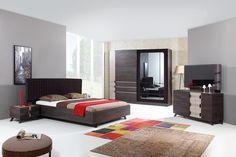 koton Contemporary Bedroom Sets, Bedroom Bed Design, Apartment Bedroom Decor, Modern Bedroom Furniture, House Design, Bed Rooms, Living Room, Wood Design, Beds