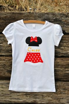 Custom Skirted Minnie Split Name Shirt.  Sizes 6m-12yrs.  By Hoot n Hollar Childrens Clothing