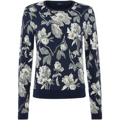 Gant Floral Crewneck Sweatshirt ($93) ❤ liked on Polyvore featuring tops, hoodies, sweatshirts, blue, women, gant, crew neck sweatshirts, crew-neck sweatshirts, cotton sweatshirts and floral print sweatshirt