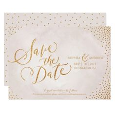 Typography Save the Date Wedding Invitation Glam blush rose gold calligraphy save the date card