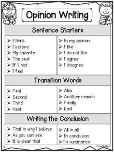 This Opinion Writing pack is perfect for kindergarten and first grade students. There are over 30 ready to go writing prompts! Use these Opinion Writing sentence starters and transition words to help your elementary students write opinion pieces. Opinion Writing Prompts, Paragraph Writing, Writing Lessons, Kids Writing, Teaching Writing, Writing Skills, Writing Prompts For Kids, Teaching First Grade, Opinion Paragraph
