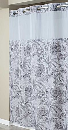Hookless Grey Floral Print Mystery Shower Curtain