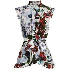 Erdem Maha Yuki Garden-print silk-crepe blouse (38.845 RUB) found on Polyvore featuring women's fashion, tops, blouses, blusas, shirts, white print, travel shirt, flower print shirt, slim fit white shirt and shirt blouse