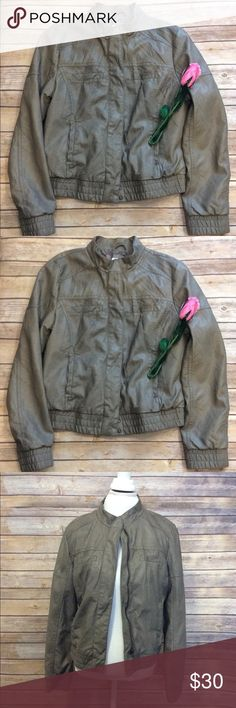 Chunky faux leather moto jacket size Large