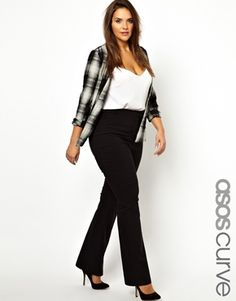 Image 1 of ASOS CURVE Pant With Kick Flare