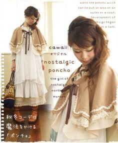 森ガール/ファッション/ナチュラル/森ガ-ル- cape with ribbon, lace layers, trims