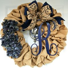 Monogram Burlap Wreath Adoorable Wreaths by Melissa Burlap Projects, Burlap Crafts, Wreath Crafts, Diy Wreath, Wreath Ideas, Crafty Projects, Deco Mesh Wreaths, Fall Wreaths, Burlap Wreaths