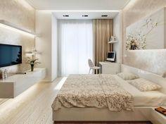 couleur ecru sur les murs avec rangements horizontales blanc, chambre à coucher avec coin de bureau à domicile